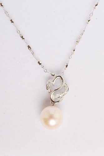 mmpearl(Michael Mikado) 11-12mm White Pearl Pendant with 18 Inch Sterling Silver Chain