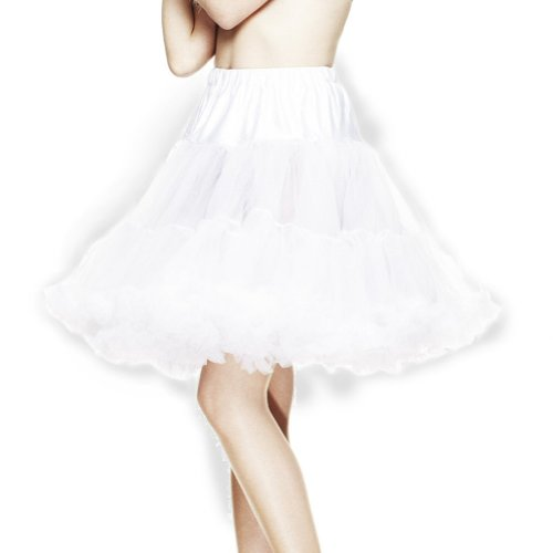 "Hell Bunny White Party Prom 50's 60's 20"" Petticoat Emo/Goth - Sizes 6 to 16"