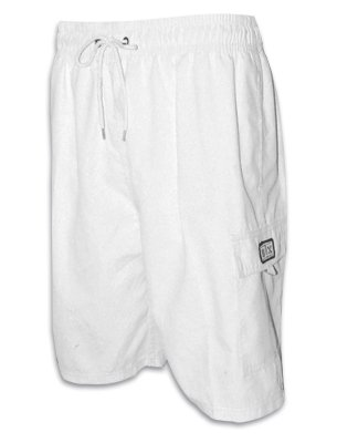 BA003WS-white-XL Mens Solid Color Skate Surf Board Short / Swim Trunks - Ivory-XL