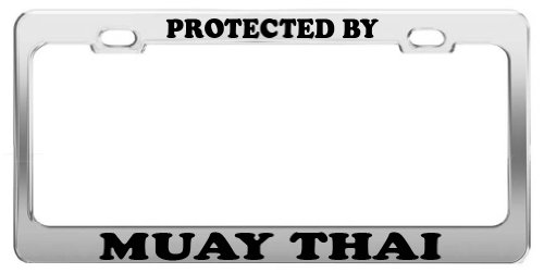 protected-by-muay-thai-license-plate-frame-tag-holder-car-truck-accessories