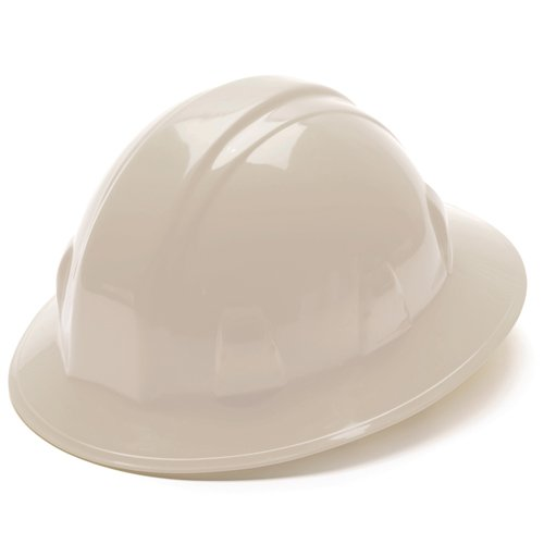 Pyramex White Full Brim Style 4 Point Ratchet Suspension Hard Hat