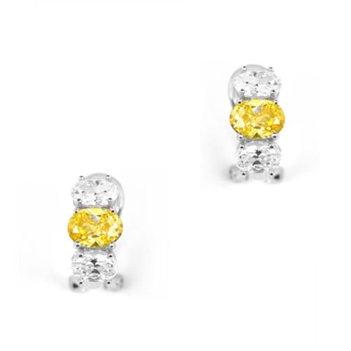 Trio Prong-Set Oval C.Z. Citrine Diamond Silver Clip With Post Earrings (Valentine's Day Special Sale) (Nice Holiday Gift, Special Black Firday Sale)
