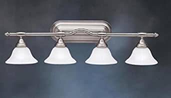 36 Vanity Light Brushed Nickel : Traditional 4-Light 36