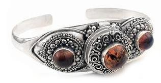 Gothic Costume Sterling Silver Poison Box Locket Cuff Bracelet with Genuine Amber