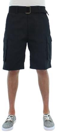 Moda Essentials Men's Belted Cotton Cargo Shorts Black Size 30