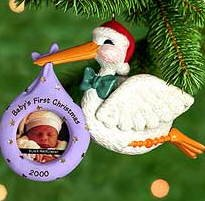 1 X Hallmark Keepsake Ornament Baby's First Christmas Photo Holder Dated 2000