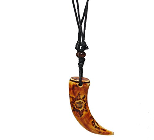 Unisex-Carved-Yak-Bone-Dragon-Tooth-Pendant-Carving-of-Tribal-Sun-On-Leather-Adjustable-String-BY-EG