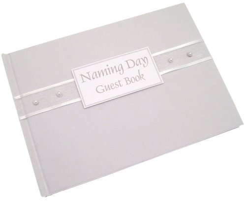 White Cotton Cards Naming Day White Pearls Guest Book front-241117