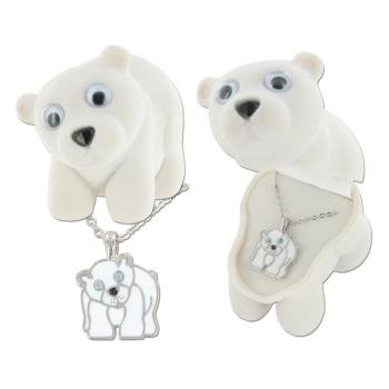 Polar Bear Enamel Necklace in Figural Gift Box