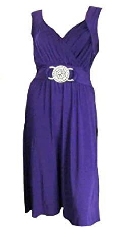 Ladies Rich Purple Grecian Wrap Kneelength Slinky Dress in womens plus sizes 16 - 26 (20 - 22)