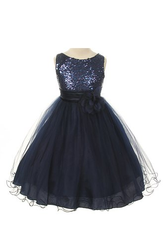 Absolutely Beautiful Sequined Bodice With Double Tulle Skirt Party Flower Girl Dress-Kd305-Navy-2 front-1008050