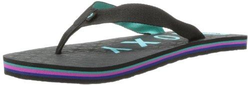 Roxy Women's Sherbert Flip Flop,Black/Blue,8 M US