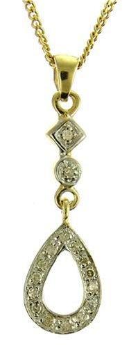 Ladies' Diamond Teardrop Pendant Necklace, Flush
