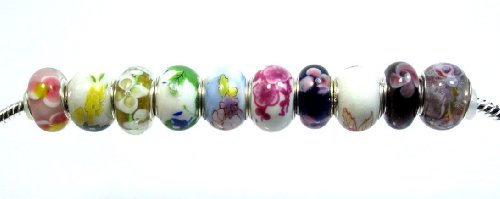 Pandora Style Ten Piece Charm Bead Set with Murano Glass Exact Assortment As Shown (G113)