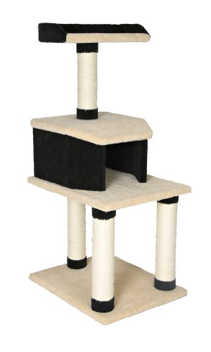 Trixie Manolo scratching post, carpet covered, 117 cm, black/beige