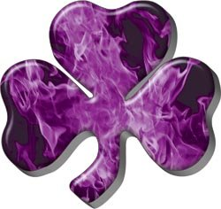 Firefighter Luck Shamrock Decal - Inferno Purple - 12