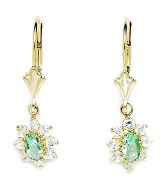 14ct Yellow Gold March Birthstone Lt-Blue 4x5mm CZ Flower Leverback Earrings - Measures 27x8mm