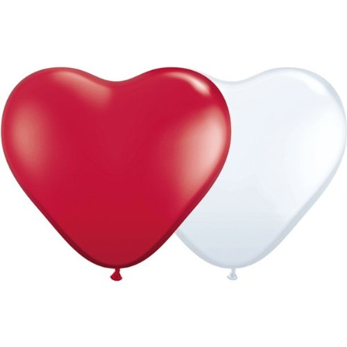 25 rote und 25 weiße Herzballons - Ballongas geeignet - Herzluftballon - Herzluftballons