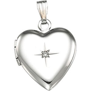 Sterling Silver Heart Shaped Locket withdiamond