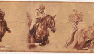 Horse Jockey Riding Wallpaper Equestrian Border Decor Roll