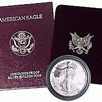 1989 AMERICAN SILVER EAGLE PROOF $1 DOLLAR COIN W/BOX