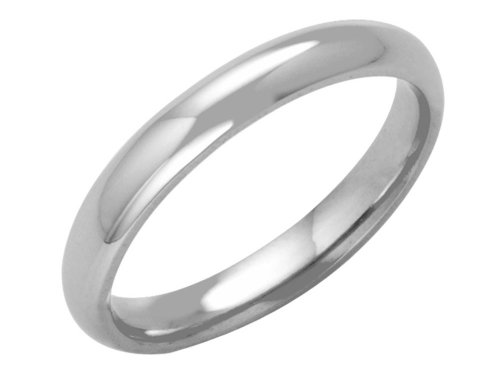 Platinum Wedding Ring, Heavy Court Shape, 3mm Band Width
