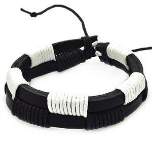 Men's Black & White Leather Bracelet (14 mm)