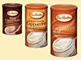 3 Cans Tim Hortons 1-french Vanilla Cappuccino Rich and Delicious 16oz,english Toffee Cappuccino Rich and Delicious 16oz and 1- Hot Chocolate 500g , 17oz