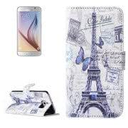 Butterfly and Eiffel Tower Pattern Magnetic Snap Flip Leather Case with Holder Card Slots Wallet for Samsung Galaxy S6