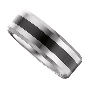 Size 10.5 - Tungsten Black Enamel Ring