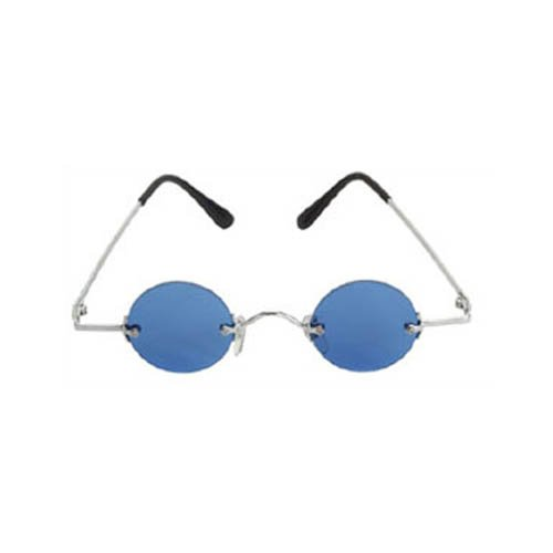 Silver Steampunk Fu Man Chu Glasses with Blue Lenses