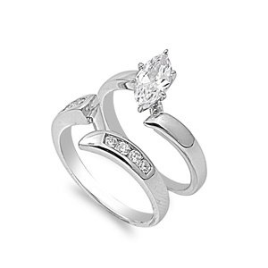Sterling Silver Wedding Ring Set with Clear CZ Stones - Size 8