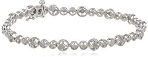 "Sterling Silver Diamond Tennis Bracelet, (1 Cttw, G-H Color, I2-I3 Clarity), 7"" from Amazon Curated Collection"