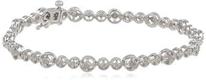 Sterling Silver Diamond Tennis Bracelet, (1 Cttw, G-H Color, I2-I3 Clarity), 7