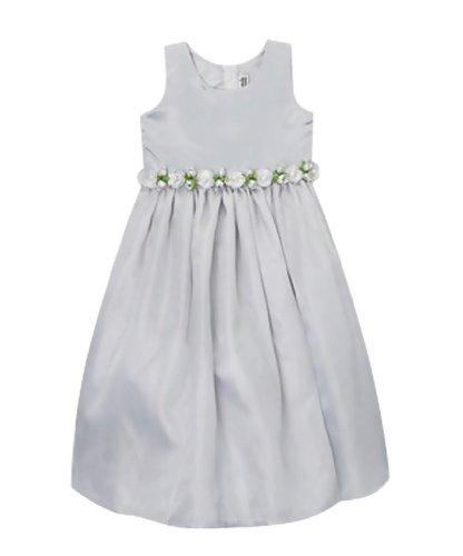Classykidzshop Silver Satin Flower Girl Special Event Holiday Dress - 2T