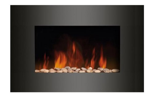 WALL MOUNTED ELECTRIC FIRES FIRE FIREPLACE CURVED GLASS PEBBLES EFFECT FLAME NEW!