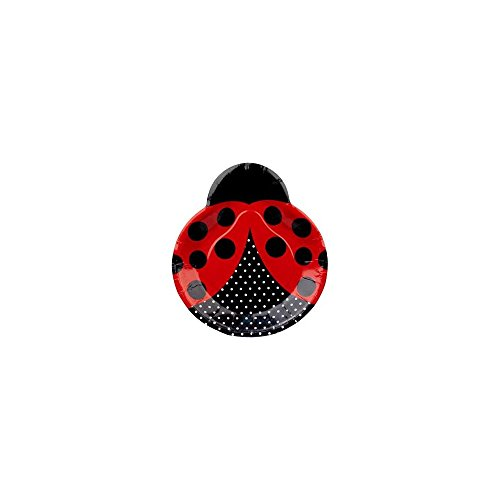 Creative Converting Unisex Adult LadyBug Fancy Shaped Plates Black Medium