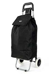 "Hoppa, 1 year warranty, 23"", Black, Lightweight hard wearing and light weight microfiber material wheeled shopping trolley, 60x24x33cm, 47L, 1.82kg (Black)"