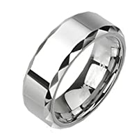 High Polished 8mm Tungsten Carbide Ring With Multi-Facelet Prism Design on Edges