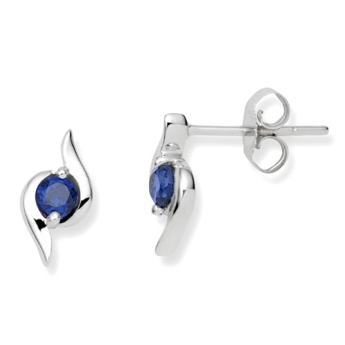 Gold Earrings, 9ct White Gold, Created Sapphire Studs, by Miore, UNI004E2W