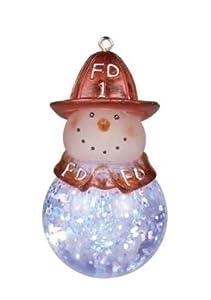 LED Firefighter Snowman Christmas Ornament