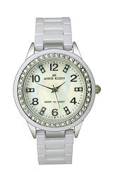AK Anne Klein Ceramic and Crystal Mother-of-pearl Dial Women's watch #10/9341MPWT