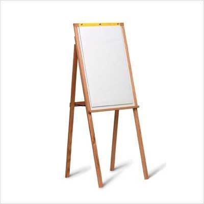 Marsh Industries WK-601-00RM 64X24 Solid Oak Presentation Easel with Flip Chart - White