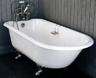 European Deck Mount Clawfoot Tub Painted White 54 Inch Bathtubs