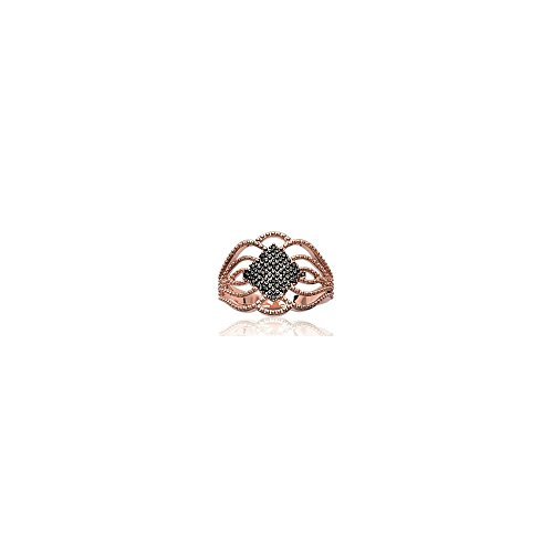 Mary Jane - Anello placcato oro rosa donna - Larghezza 17 mm - placcato oro rose-ruthénium, placcato oro, 12, colore: black, cod. 222140752