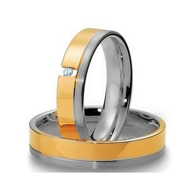 COI Jewelry Pure Titanium Ring With Yellow Gold Plating (From US3.5 to US16)