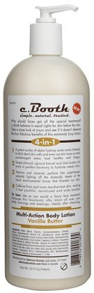 c. Booth Multi-Action Body Lotion, Vanilla Butter, 32 oz.
