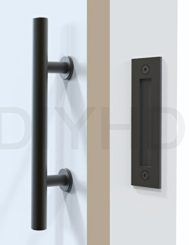 DIYHD Stainless Steel Black Barn Door Handle And Pull Wood Door Two-side handles (Door Handle Steel compare prices)