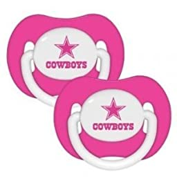 NFL Football 2014 Baby Infant Girls Pink Pacifier 2-Pack - Pick Team (Dallas Cowboys - Pink)