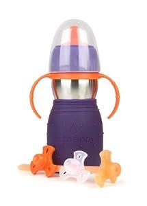 Kid Basix Safe Sippy 2 - Botella infantil con pajita, tapón y asas (330 ml), color morado marca Kid
